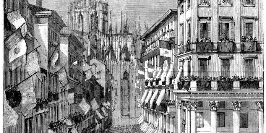 Abb. 1: Begräbnisprozession für Alessandro                         Manzoni am 29. Mai 1873. In: L'Illustrazione popolare 1873, S. 168–169.                         [Scan aus dem Besitz des Autors, 29.12.2017.]