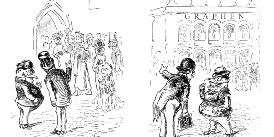 Abb. 7: Aus der Wiener Satirezeitschrift Kikeriki: [links:] »Was gibt's denn heute im Opernhause? – Ein Requiem«. [rechts:]                          »Was gibt's denn heute in der Michaeler-Kirche? – Es singen dort [die OpernsängerInnen] der Walter, die Ehnn und die Gindele«. [Bild: Anonymus 1875a, Bearbeitung: Torsten Roeder.]