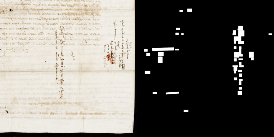 figure 6: Example of text detection                                     failure: Letter from Simón de Tovar to Carolus Clusius, dated                                     March 19, 1596 (img-id: CLUY030-001-c, VUL 101). Image used with                                     permission of the Digital Special Collections of Leiden                                     University Library.