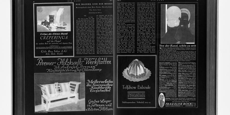 Abb. 1: Mediumspezifische Ordnungsform                         Doppelseite, Beispiel Die Dame. Illustrierte Modezeitschrift                         53 (1926), H. 10, S. 34–35. © Eigener Scan, 2017.