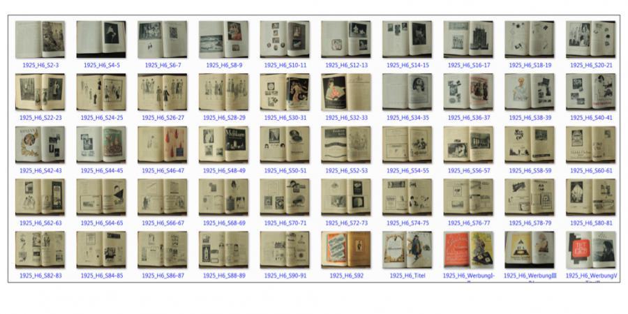 Abb. 2: Mediumspezifische Ordnungsform Einzelheft,                        Beispiel Die Dame. Illustrierte Modezeitschrift 52 (1925), H.                        6 (Doppelseitenlauf). © Eigener Scan, 2017.