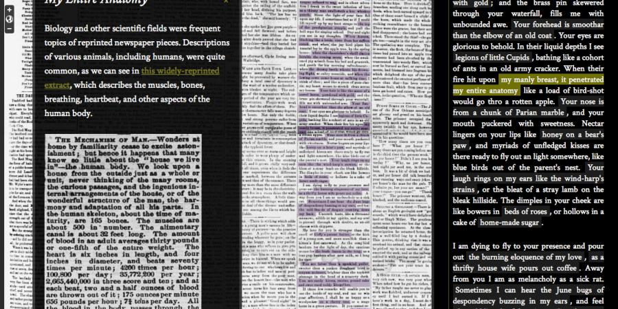 Abb. 7: The Viral Text Project, Beispiel 2. ©                         Computational Methods for Uncovering Reprinted Texts in Antebellum                         Newspapers. [online]