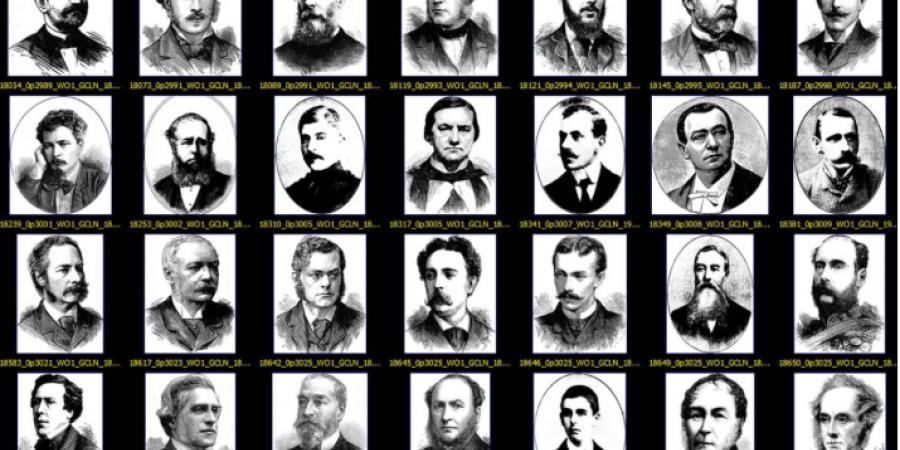 Abb. 11: Serie von isolierten Porträts, die                        stabile Grundmuster der Gesichtsdarstellung im 19. Jahrhundert erkennen                        lässt. © Eigene Grafik, 2017.
